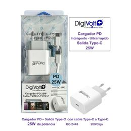 DIGIVOLT QC-2443 Cargador rápido type-c PD 25w. - digivolt qc2443