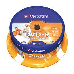 Verbatim DVD-R 16x 4.7GB Printable Tarrina 25 unds - Verbatim DVD-R 4,7GB Printable Tarrina 25Uds_1