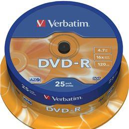 Verbatim DVD-R 16x 4.7GB Tarrina 25 Unidades - verbatim-25-dvd-r-4.7gb-16x-speed