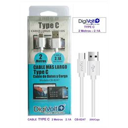 Digivolt CB-8247 Cable USB a USB-C 2,00m. blanco - digivolt cb8247