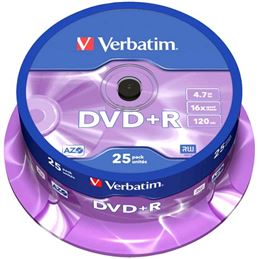 Verbatim DVD+R 16x 4.7GB Tarrina 25 Unidades - Verbatim-DVD-plus-R-4,7GB-Tarrina-25Uds