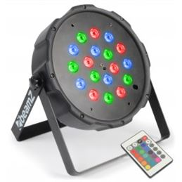 Beamz 151287 Foco PAR plano 18x1W RGB LEDs DMX IR - BEAMZ 151287