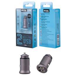 M-TK AT872 Cargador coche 2-USB 2,4A Gris - AT872-GR-Cargador-Mechero-Metal-Cable-24A-2USB-Gris